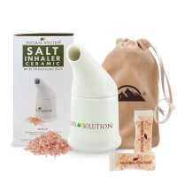Himalayan Salt Inhaler  Ceramic Glazed Inside & Out With 2 Bags of Pink Salt & Carry Bag